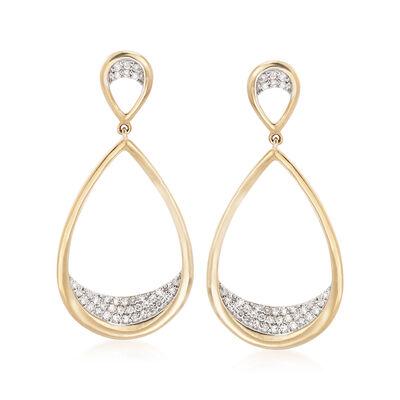 .26 ct. t.w. Pave Diamond Teardrop Earrings in 14kt Yellow Gold, , default