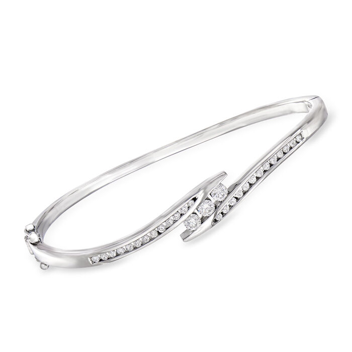 "C. 1980 Vintage 1.00 ct. t.w. Diamond Bypass Bangle Bracelet in 14kt White Gold. 7"", , default"