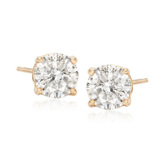 1.50 ct. t.w. Diamond Stud Earrings in 18kt Yellow Gold , , default