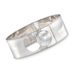 "Italian Sterling Silver Button Bangle Bracelet. 7.5"", , default"