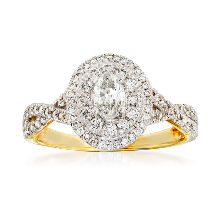 .75 ct. t.w. Diamond Twist-Shank Engagement Ring in 14kt Yellow Gold, , default