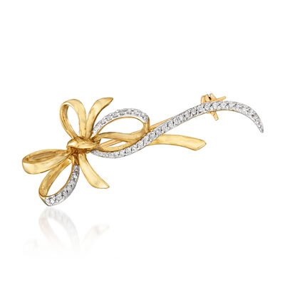 .16 ct. t.w. Diamond Bow Pin in 14kt Yellow Gold, , default