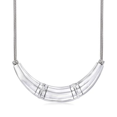 Sterling Silver Crescent-Shaped Bar and Cable Chain Necklace, , default