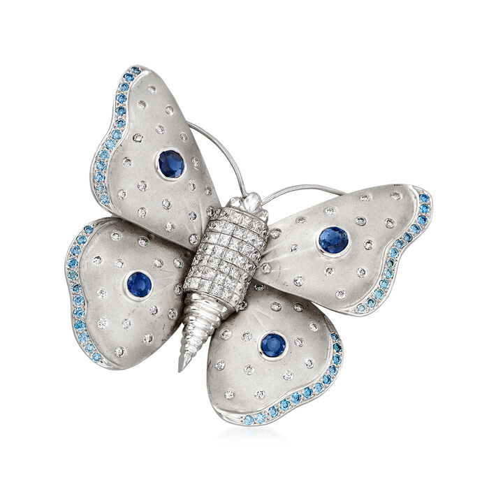 C. 1970 Vintage 6.20 ct. t.w. Blue and White Diamond and 1.60 ct. t.w. Sapphire Butterfly Pin in 18kt White Gold