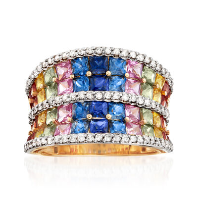 3.90 ct. t.w. Multicolored Sapphire, .50 ct. t.w. Ruby and .47 ct. t.w. Diamond Concave Ring in 14kt Yellow Gold