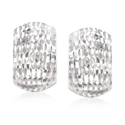 Sterling Silver Textured Curve Earrings