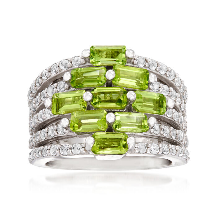 3.40 ct. t.w. Peridot and .60 ct. t.w. White Topaz Multi-Row Ring in Sterling Silver