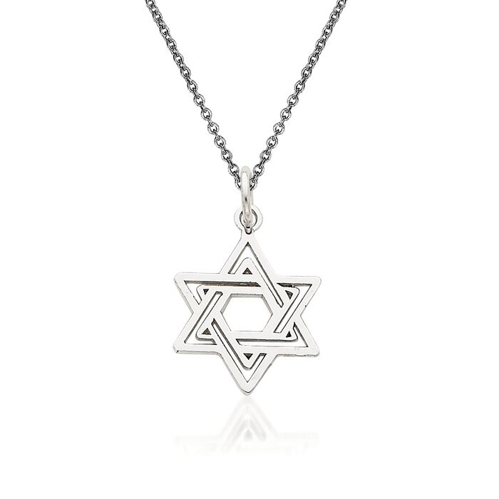 """14kt White Gold Star of David Pendant Necklace. 18"""""""