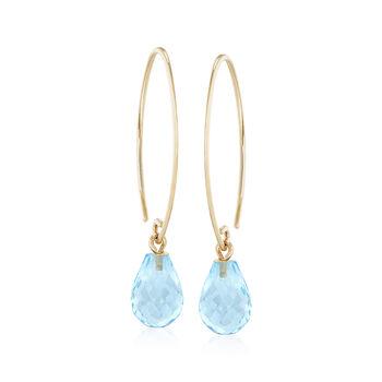 7.50 ct. t.w. Blue Topaz Earrings in 14kt Yellow Gold, , default
