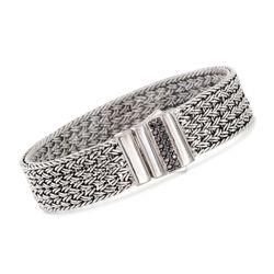 """Phillip Gavriel """"Woven"""" .30 ct. t.w. Black Sapphire Basketweave Bracelet in Sterling Silver, , default"""