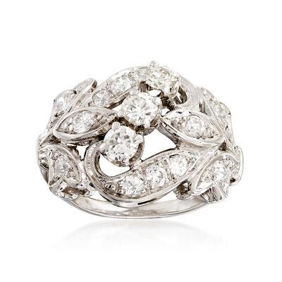 C. 1980 Vintage 1.25 ct. t.w. Diamond Swirl Ring in 14kt White Gold, , default