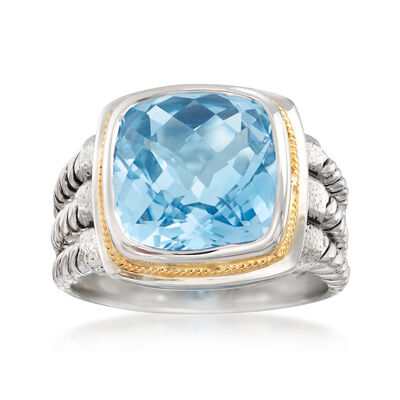 5.25 Bezel-Set Blue Topaz Ring in Sterling Silver and 14kt Yellow Gold, , default
