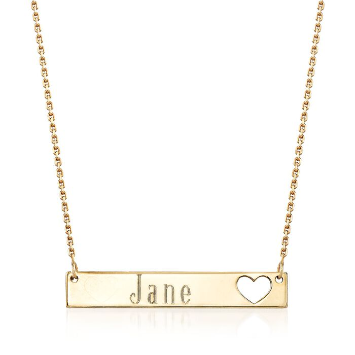 14kt Yellow Gold Name ID Bar Necklace with Cut-Out Heart