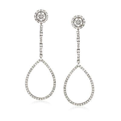 4.50 ct. t.w. Diamond Open Teardrop Earrings in 18kt White Gold