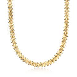 C. 1990 Vintage 14kt Yellow Gold Heart-Link Necklace, , default