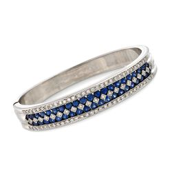 """C. 1990 Vintage 5.00 ct. t.w. Sapphire and 1.50 ct. t.w. Diamond Bangle Bracelet in 14kt White Gold. 7.5"""", , default"""