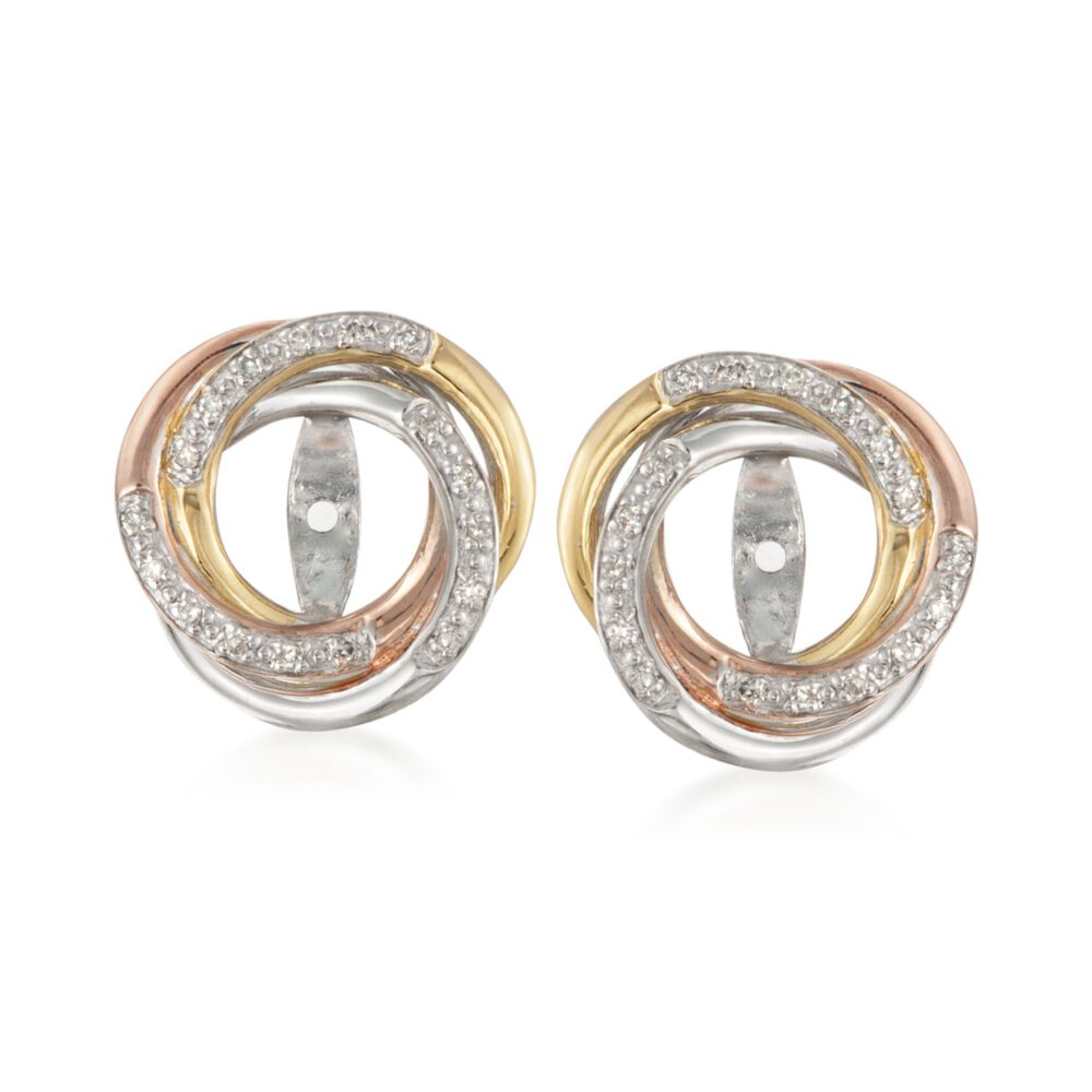 T W Diamond Swirl Earring Jackets In Tri Colored Sterling Silver