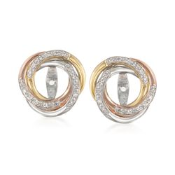 .10 ct. t.w. Diamond Swirl Earring Jackets in Tri-Colored Sterling Silver , , default