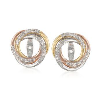 .10 ct. t.w. Diamond Swirl Earring Jackets in Tri-Colored Sterling Silver, , default