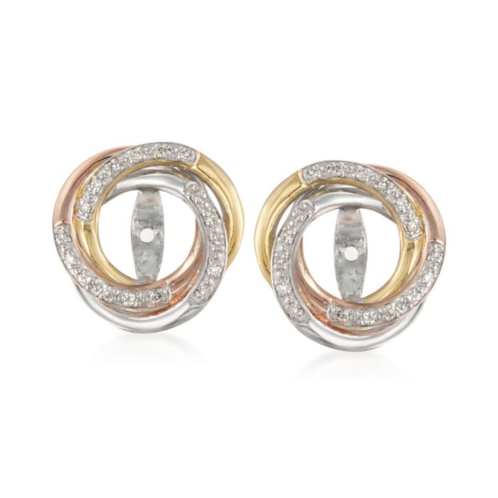 .10 ct. t.w. Diamond Swirl Earring Jackets in Tri-Colored Sterling Silver, , default