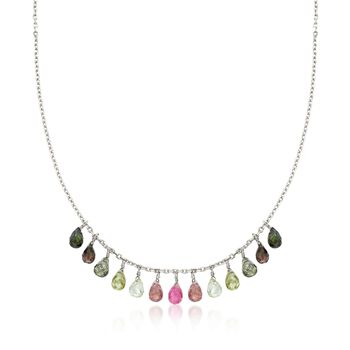 """14.00 ct. t.w. Multicolored Tourmaline Drop Necklace in Sterling Silver. 18"""", , default"""