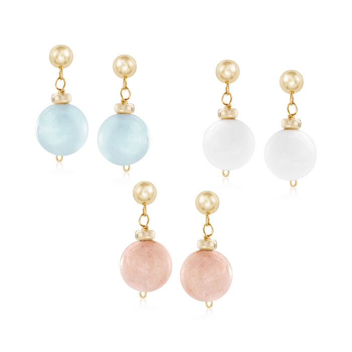 42.00 ct. t.w. Multi-Stone Bead Jewelry Set: Three Pairs of Earrings in 14kt Yellow Gold, , default