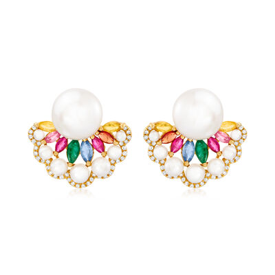 2-10.5mm Cultured Pearl, 1.60 ct. t.w. Multi-Gem and .21 ct. t.w. Diamond Earrings in 18kt Yellow Gold
