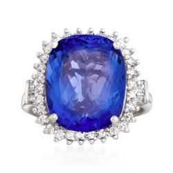 10.60 Carat Tanzanite and .90 ct. t.w. Diamond Ring in 14kt White Gold, , default