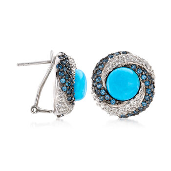 Stabilized Turquoise and 2.10 ct. t.w. White and Blue Topaz Earrings in Sterling Silver, , default