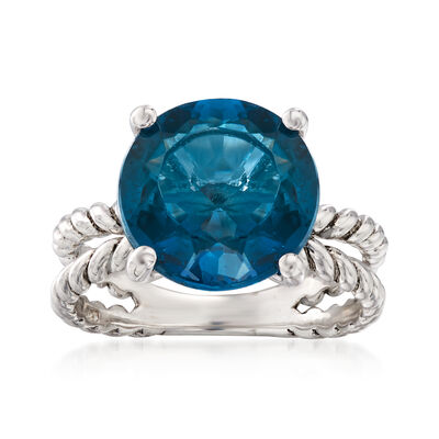 6.75 Carat London Blue Topaz Ring in Sterling Silver