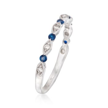 Henri Daussi .11 ct. t.w. Sapphire and Diamond Accent Wedding Ring in 18kt White Gold, , default