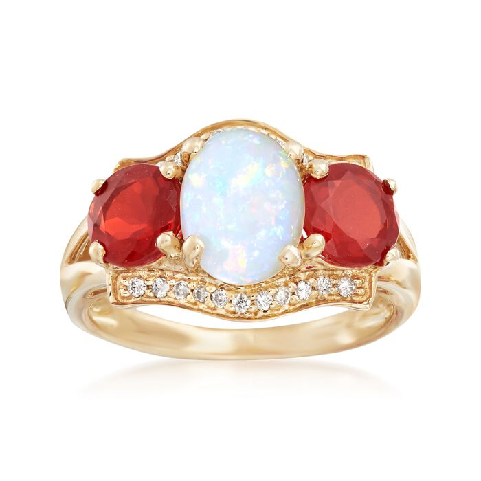Australian White and Orange Opal Ring With Diamond Accents in 14kt Yellow Gold, , default