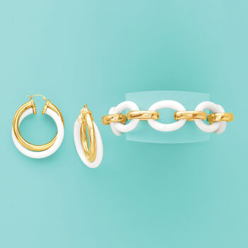 """Andiamo 14kt Yellow Gold and White Agate Bracelet with Magnetic Clasp. 7.5"""", , default"""