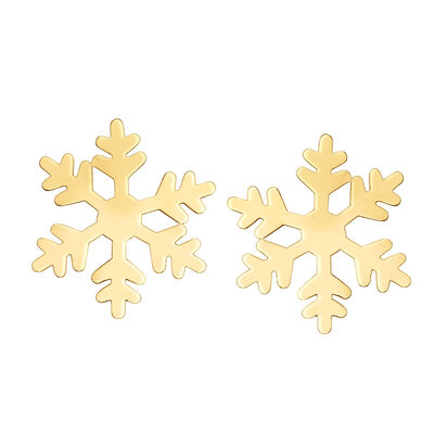 14kt Yellow Gold Snowflake Earrings