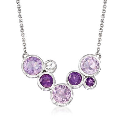 7.00 ct. t.w. Tonal Amethyst and .20 ct. t.w. White Topaz Bezel-Set Necklace in Sterling Silver, , default