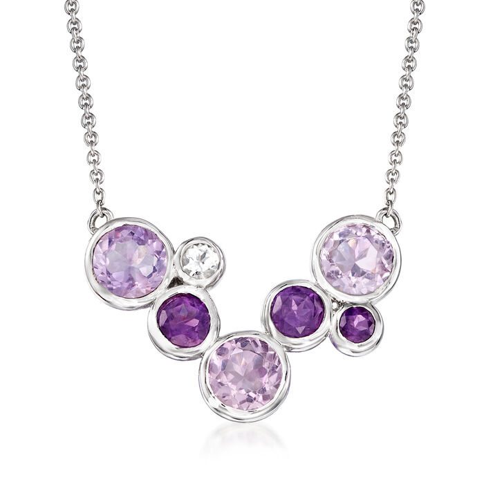 7.00 ct. t.w. Tonal Amethyst and .20 ct. t.w. White Topaz Bezel-Set Necklace in Sterling Silver