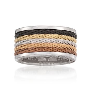"""ALOR """"Modern Cable Mix"""" Multicolored Stainless Steel Cable Ring With 18kt White Gold. Size 6.5, , default"""