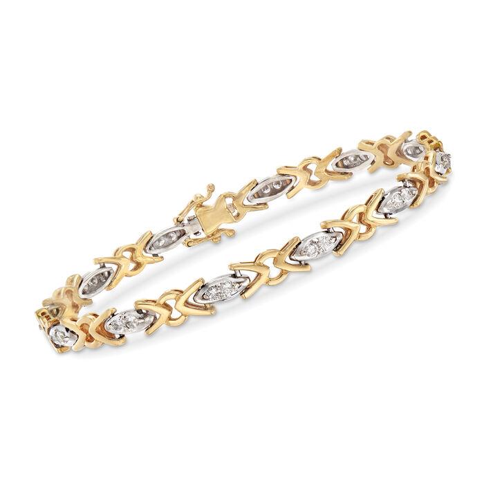 "C. 1990 Vintage 1.00 ct. t.w. Diamond XO Bracelet in 18kt Two-Tone Gold. 6.75"", , default"