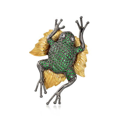 Italian Simulated Emerald Frog Pin With Black Rhodium in 18kt Gold Over Sterling, , default