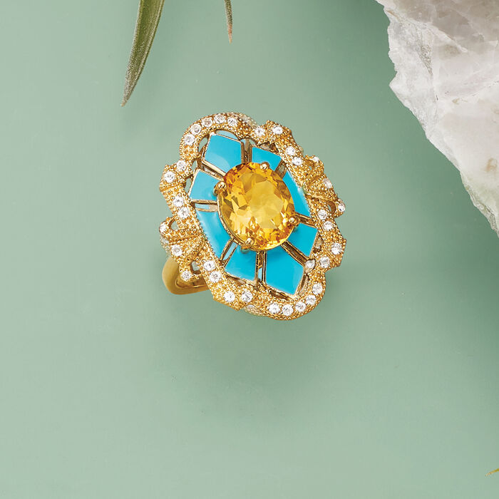 2.60 Carat Citrine and .30 ct. t.w. White Topaz Ring with Blue Enamel in 18kt Gold Over Sterling