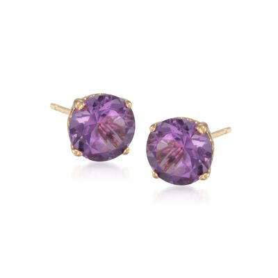 3.40 ct. t.w. Purple Amethyst Stud Earrings in 14kt Yellow Gold, , default