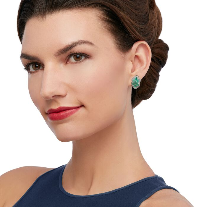 2.90 ct. t.w. Emerald and .44 ct. t.w. Diamond Flower Earrings in Sterling Silver