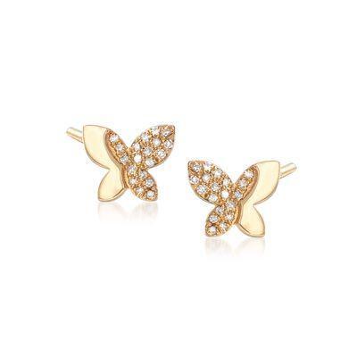 .15 ct. t.w. Diamond Butterfly Earrings in 14kt Yellow Gold, , default