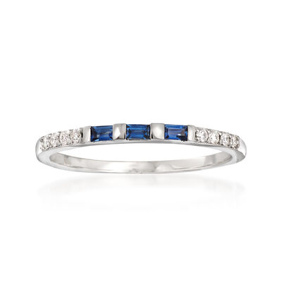 .10 ct. t.w. Sapphire and Diamond Accent Band in 14kt White Gold, , default
