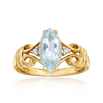 1.00 Carat Aquamarine Ring with Diamond Accents in 14kt Yellow Gold, , default