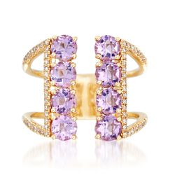 1.80 ct. t.w. Amethyst and .18 ct. t.w. Diamond Open-Front Ring in 14kt Yellow Gold. Size 5, , default