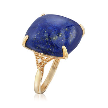 Lapis Cabochon Ring with Diamond Accents in 14kt Yellow Gold
