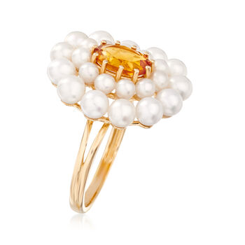 2-4mm Cultured Pearl and 1.10 Carat Citrine Ring in 14kt Yellow Gold, , default