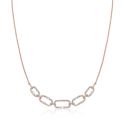 .46 ct. t.w. Round and Baguette Diamond Oval Link Necklace in 14kt Rose Gold, , default