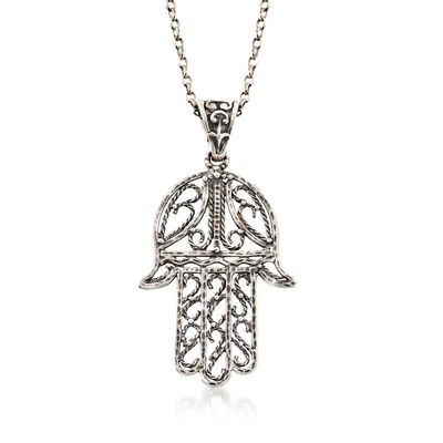 Sterling Silver Hamsa Hand Necklace, , default